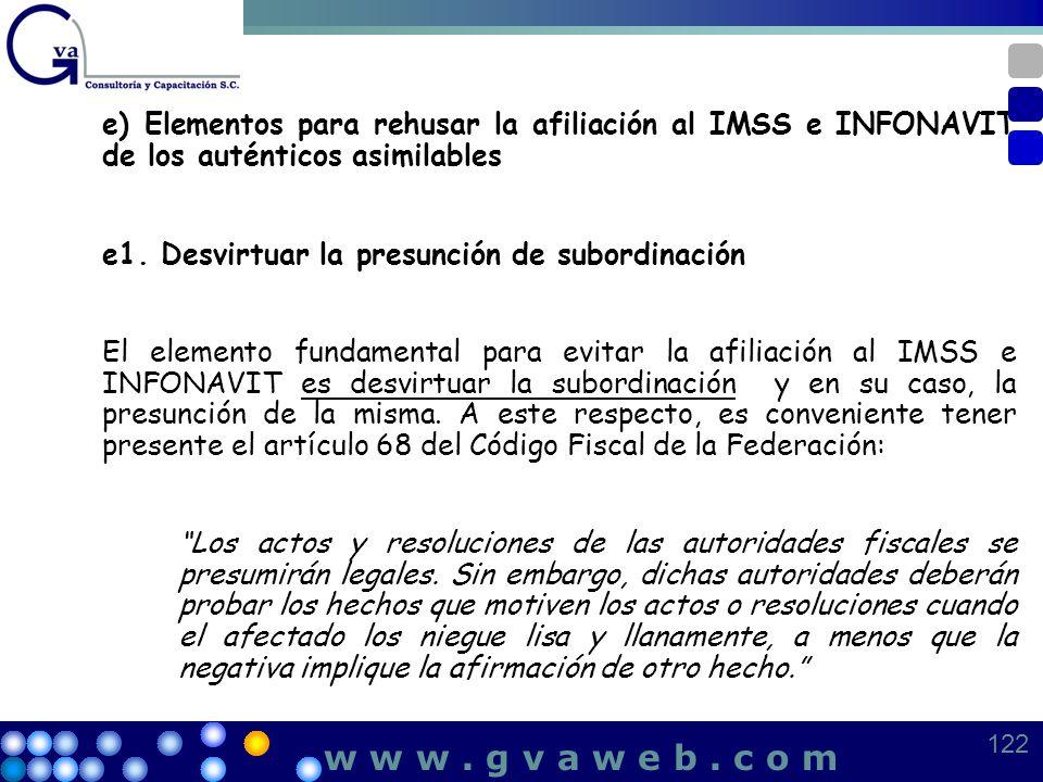 e) Elementos para rehusar la afiliación al IMSS e INFONAVIT de los auténticos asimilables