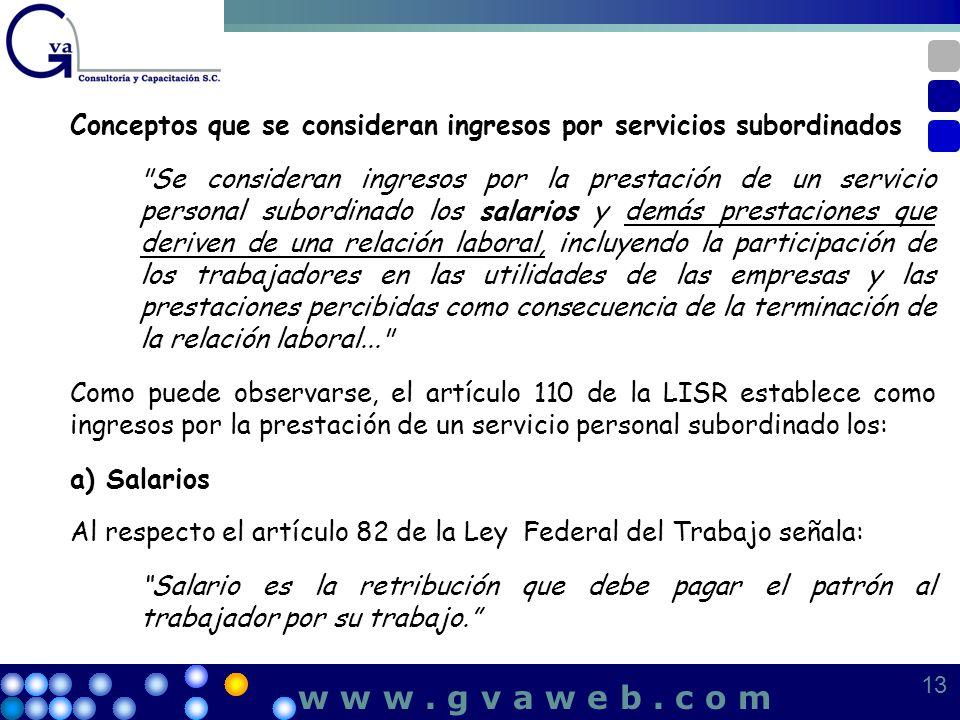 Conceptos que se consideran ingresos por servicios subordinados