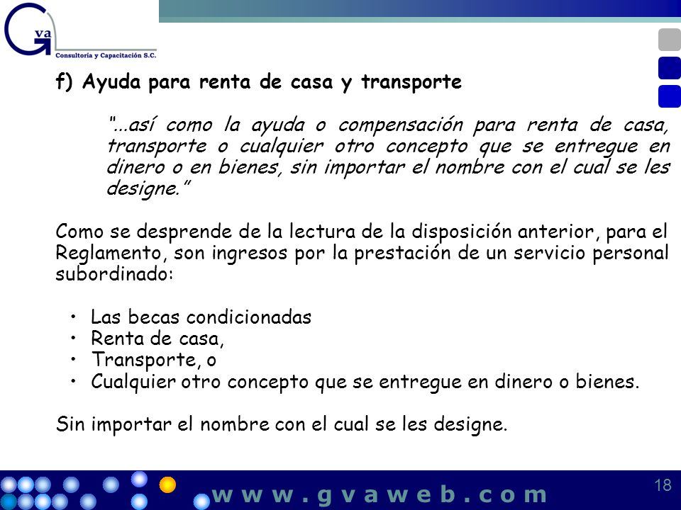 w w w . g v a w e b . c o m f) Ayuda para renta de casa y transporte