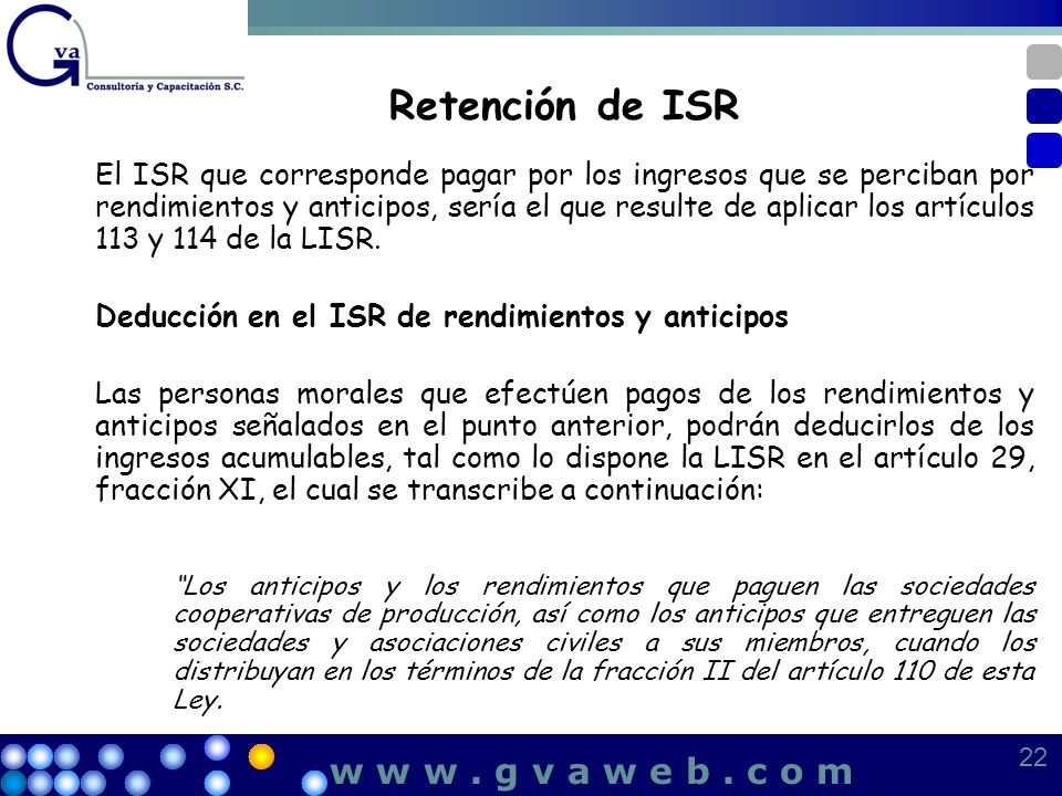 Retención de ISR w w w . g v a w e b . c o m