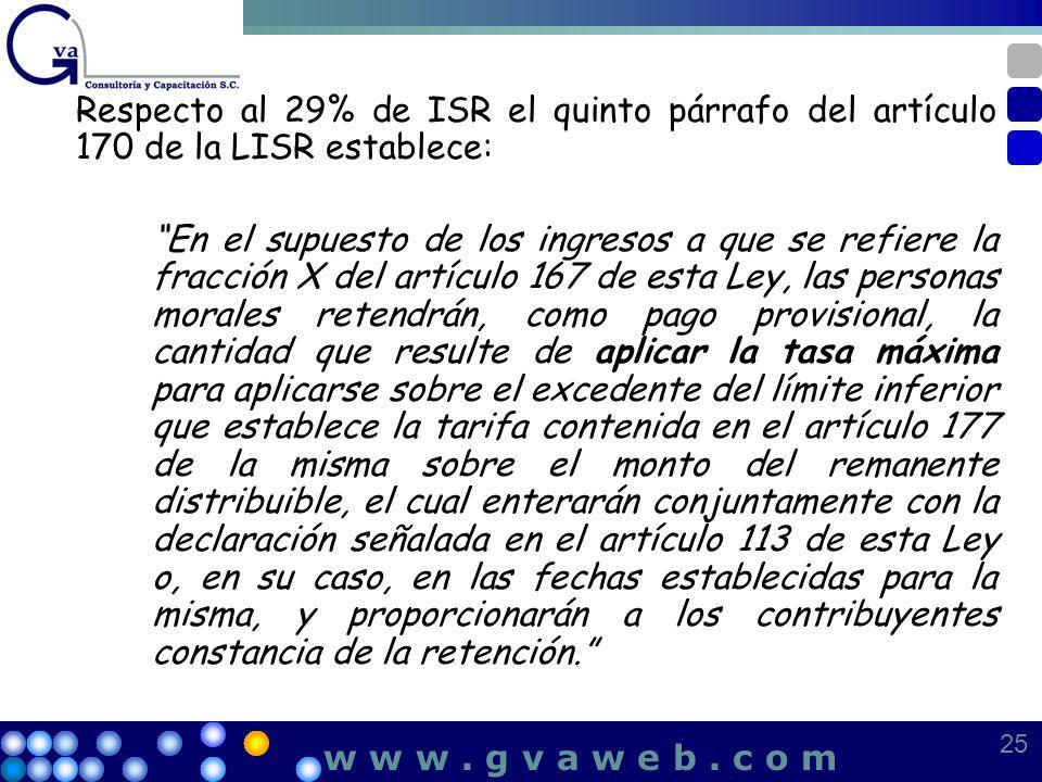 Respecto al 29% de ISR el quinto párrafo del artículo 170 de la LISR establece: