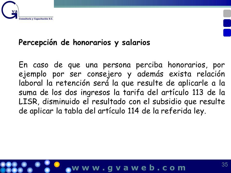Percepción de honorarios y salarios
