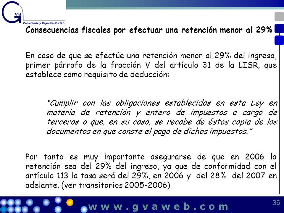 Consecuencias fiscales por efectuar una retención menor al 29%