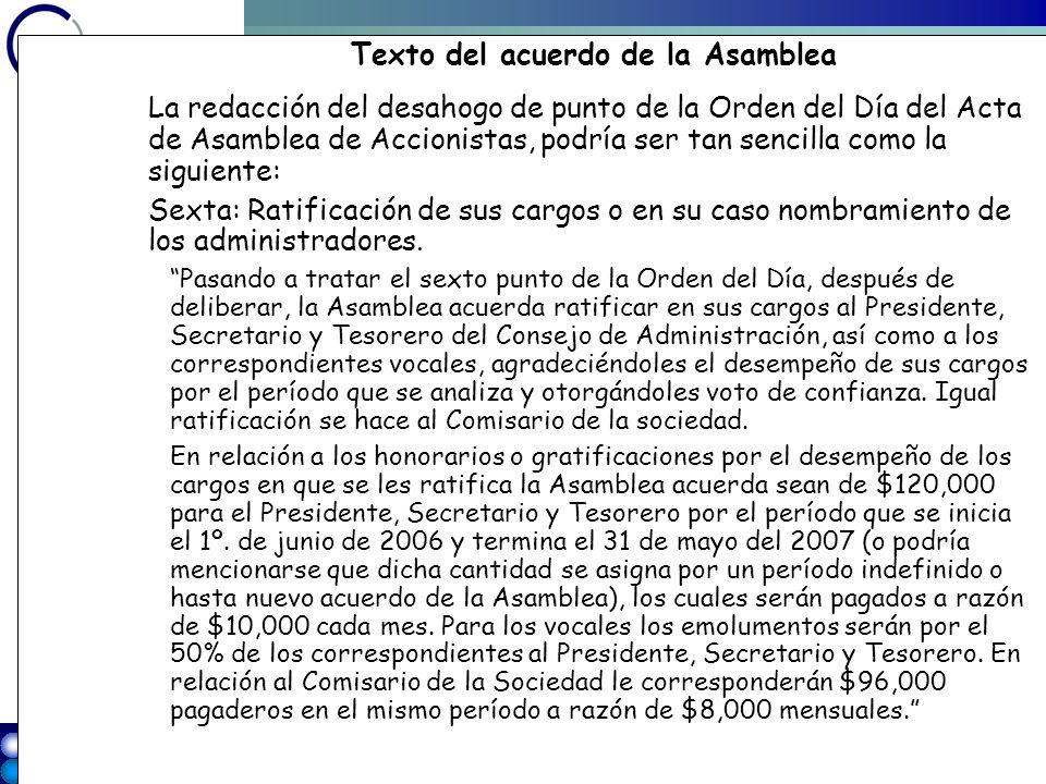 Texto del acuerdo de la Asamblea