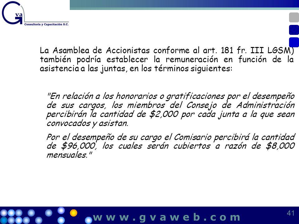 La Asamblea de Accionistas conforme al art. 181 fr