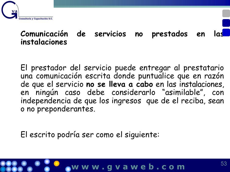 Comunicación de servicios no prestados en las instalaciones