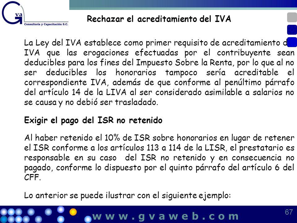 Rechazar el acreditamiento del IVA