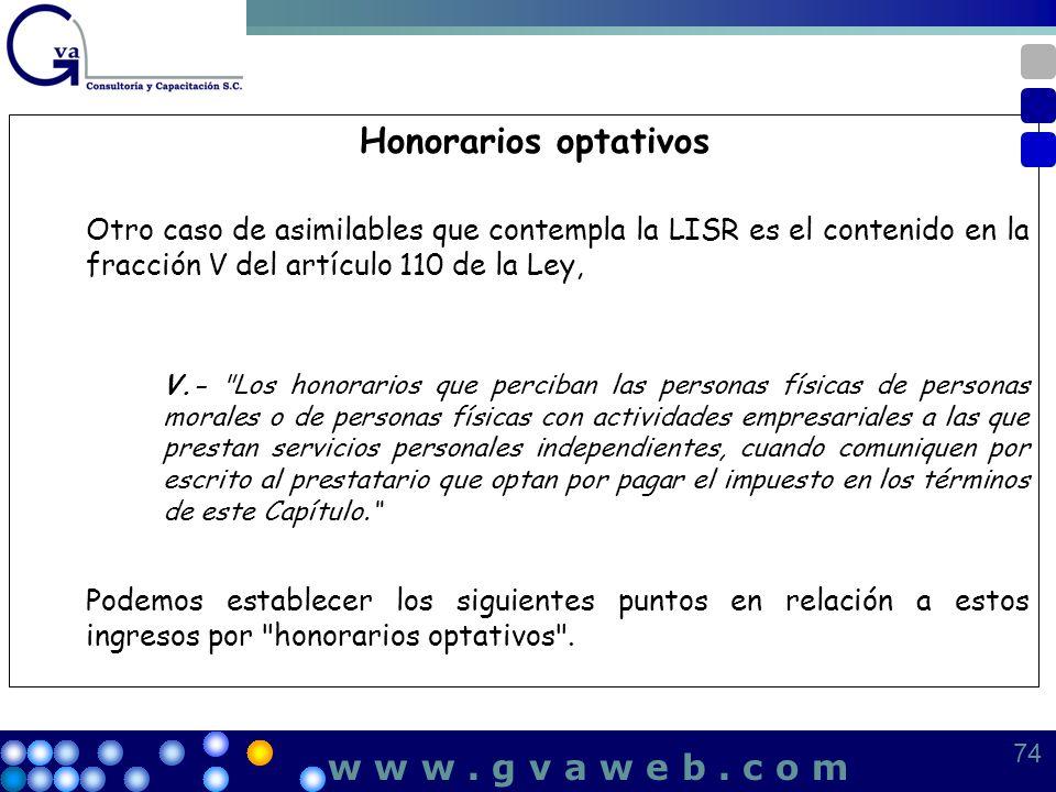Honorarios optativos w w w . g v a w e b . c o m