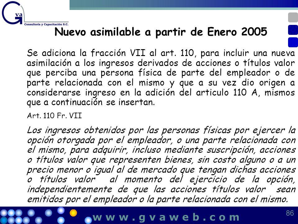 Nuevo asimilable a partir de Enero 2005