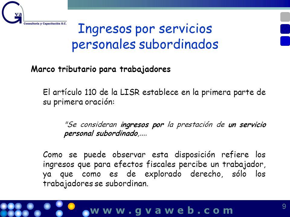 Ingresos por servicios personales subordinados