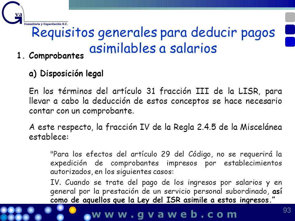 Requisitos generales para deducir pagos asimilables a salarios