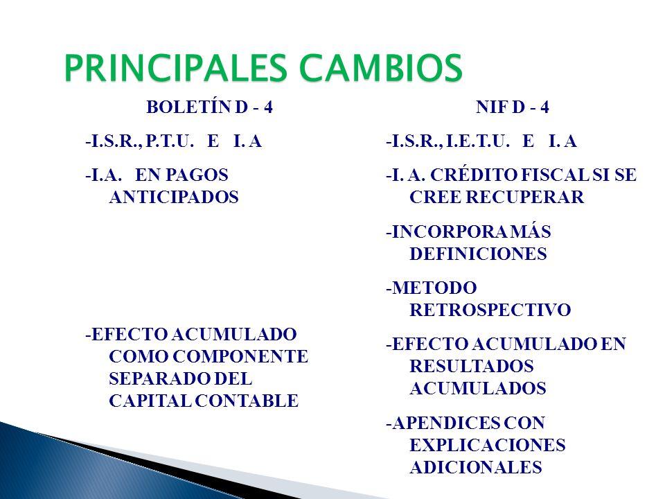 PRINCIPALES CAMBIOS BOLETÍN D - 4 -I.S.R., P.T.U. E I. A