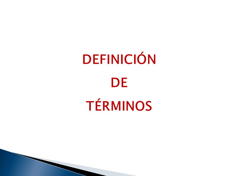 DEFINICIÓN DE TÉRMINOS