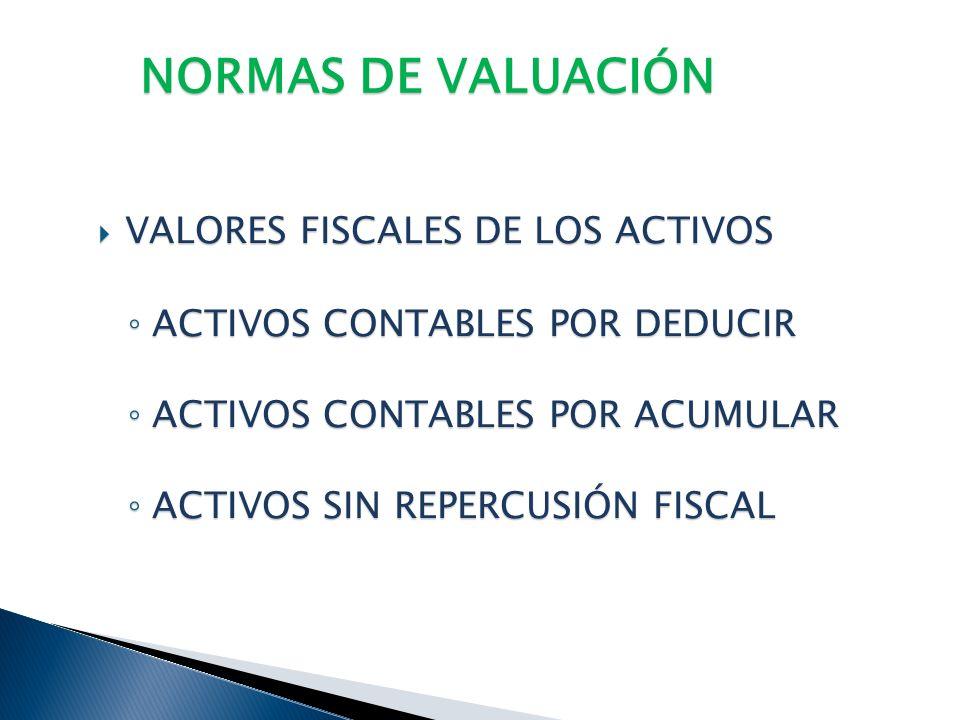 NORMAS DE VALUACIÓN VALORES FISCALES DE LOS ACTIVOS