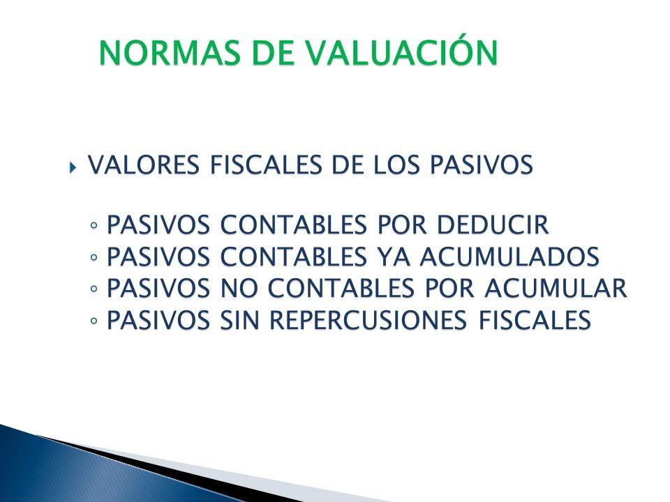 NORMAS DE VALUACIÓN VALORES FISCALES DE LOS PASIVOS