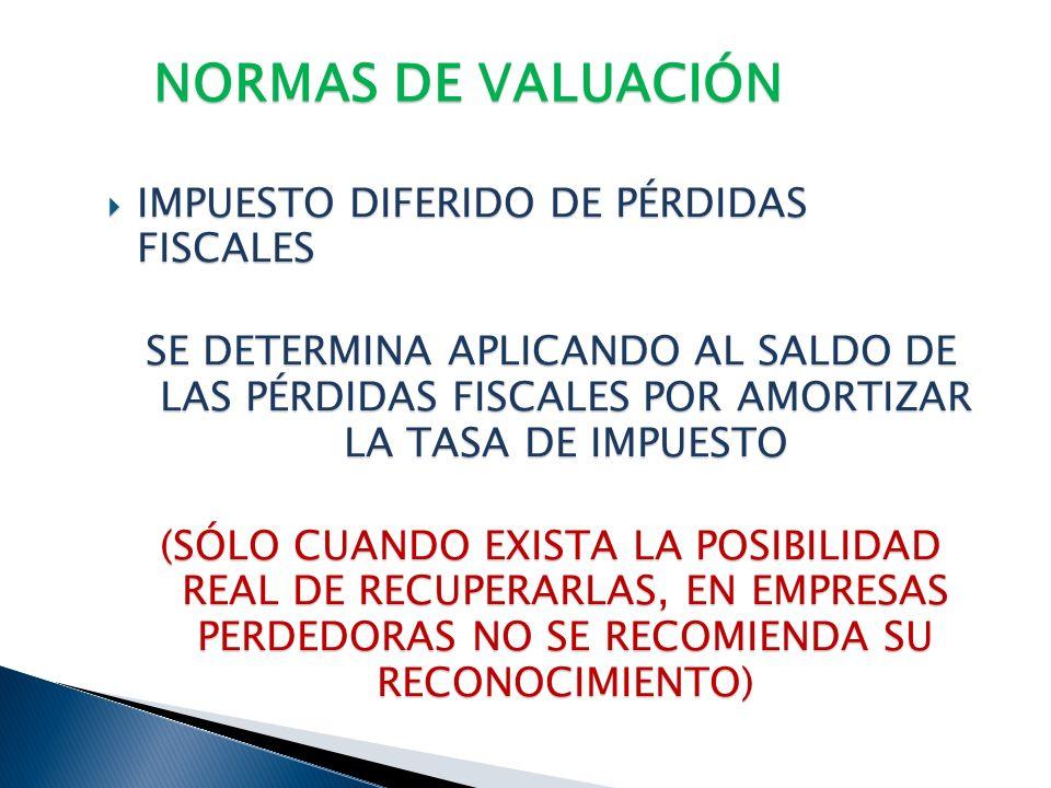 NORMAS DE VALUACIÓN IMPUESTO DIFERIDO DE PÉRDIDAS FISCALES