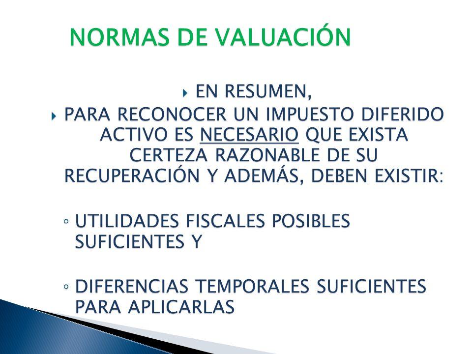 NORMAS DE VALUACIÓN EN RESUMEN,