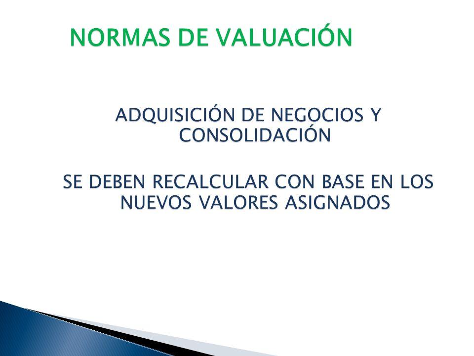 NORMAS DE VALUACIÓN ADQUISICIÓN DE NEGOCIOS Y CONSOLIDACIÓN