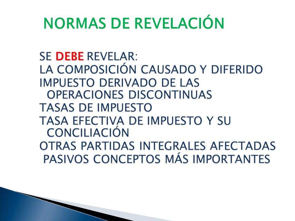 NORMAS DE REVELACIÓN SE DEBE REVELAR: