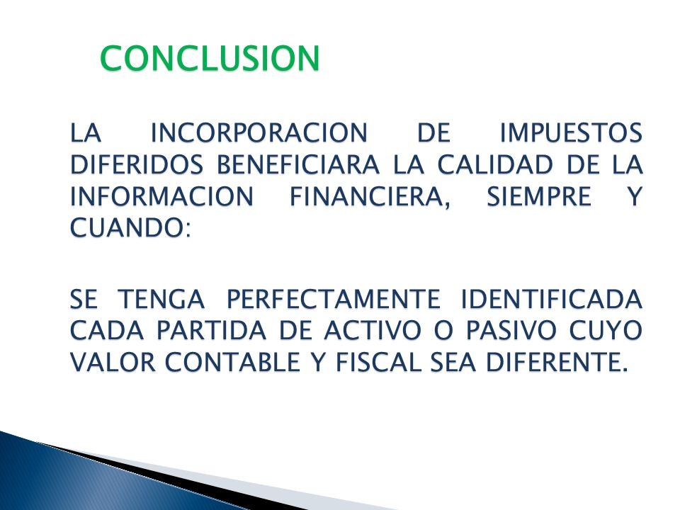 CONCLUSION LA INCORPORACION DE IMPUESTOS DIFERIDOS BENEFICIARA LA CALIDAD DE LA INFORMACION FINANCIERA, SIEMPRE Y CUANDO: