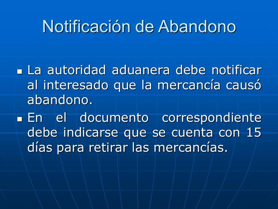 Notificación de Abandono