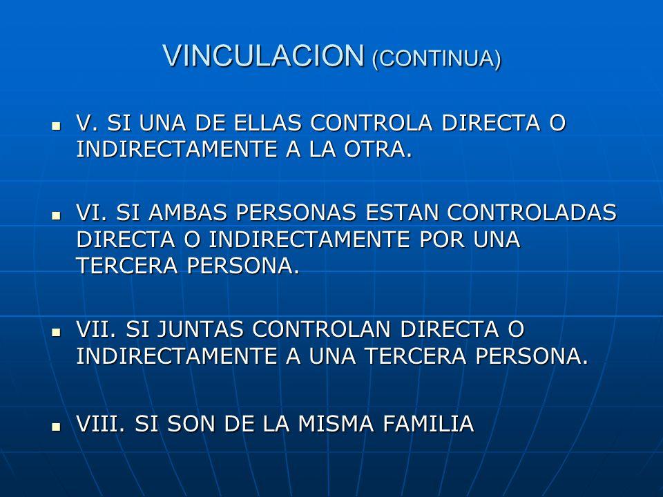 VINCULACION (CONTINUA)