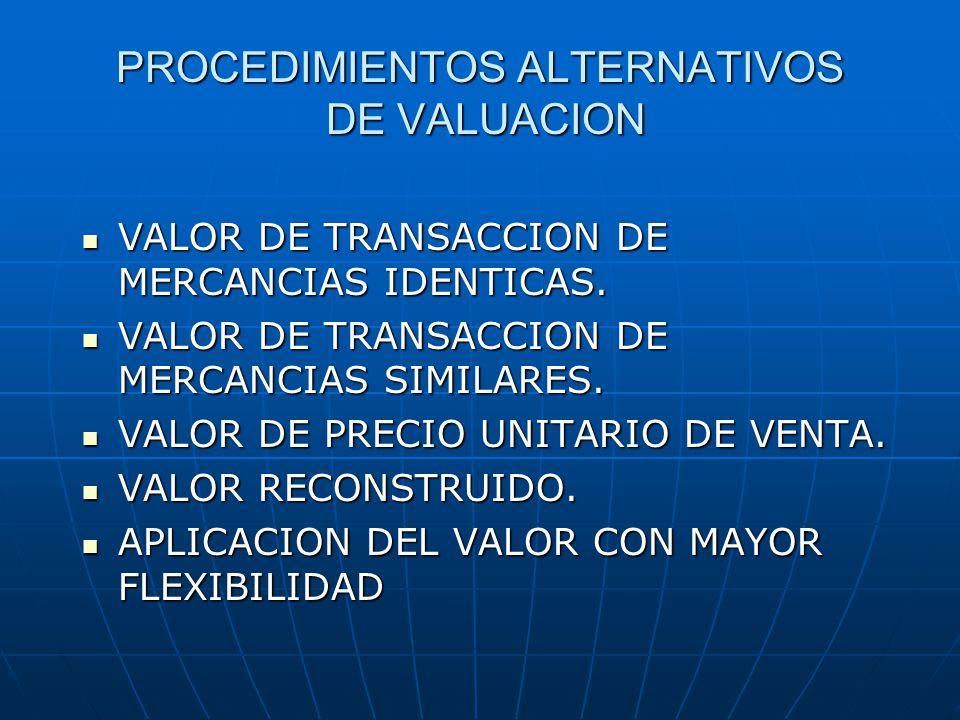 PROCEDIMIENTOS ALTERNATIVOS DE VALUACION