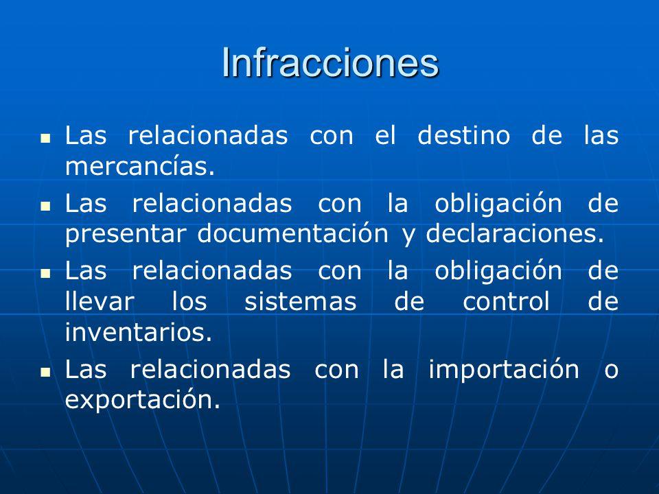 Infracciones Las relacionadas con el destino de las mercancías.