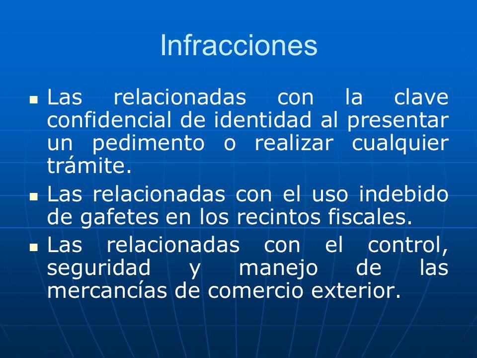 Infracciones Las relacionadas con la clave confidencial de identidad al presentar un pedimento o realizar cualquier trámite.