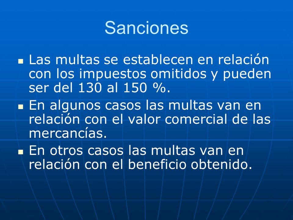 Sanciones Las multas se establecen en relación con los impuestos omitidos y pueden ser del 130 al 150 %.