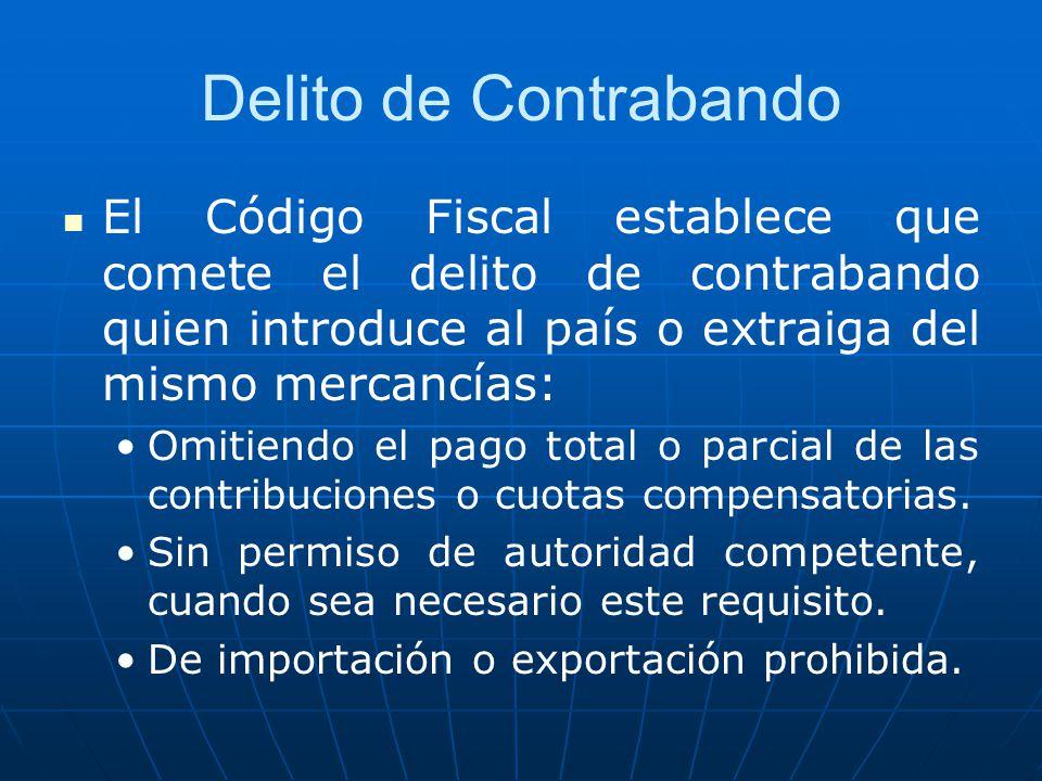 Delito de Contrabando El Código Fiscal establece que comete el delito de contrabando quien introduce al país o extraiga del mismo mercancías: