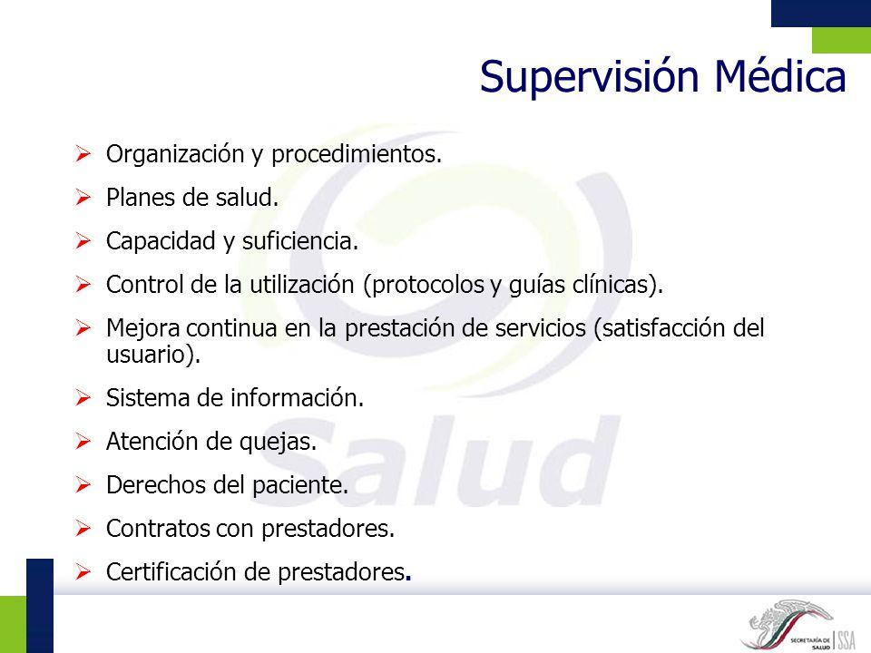 Supervisión Médica Organización y procedimientos. Planes de salud.