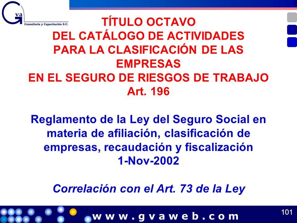 TÍTULO OCTAVO DEL CATÁLOGO DE ACTIVIDADES PARA LA CLASIFICACIÓN DE LAS EMPRESAS EN EL SEGURO DE RIESGOS DE TRABAJO Art. 196 Reglamento de la Ley del Seguro Social en materia de afiliación, clasificación de empresas, recaudación y fiscalización 1-Nov-2002 Correlación con el Art. 73 de la Ley