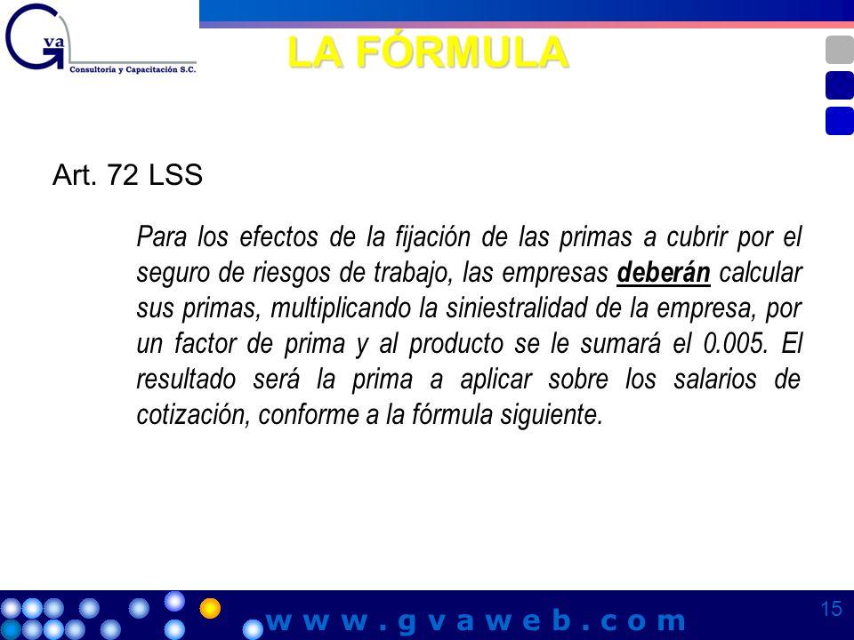 LA FÓRMULA Art. 72 LSS.