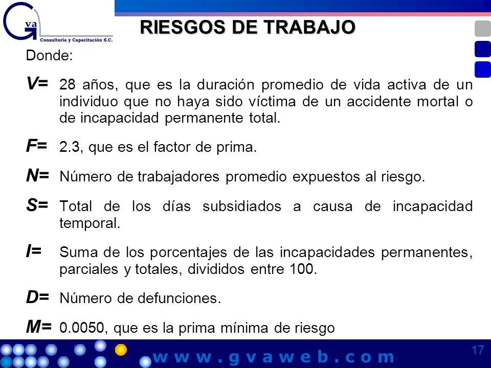 RIESGOS DE TRABAJO Donde: