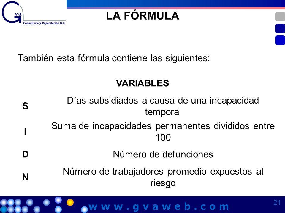 LA FÓRMULA También esta fórmula contiene las siguientes: VARIABLES S