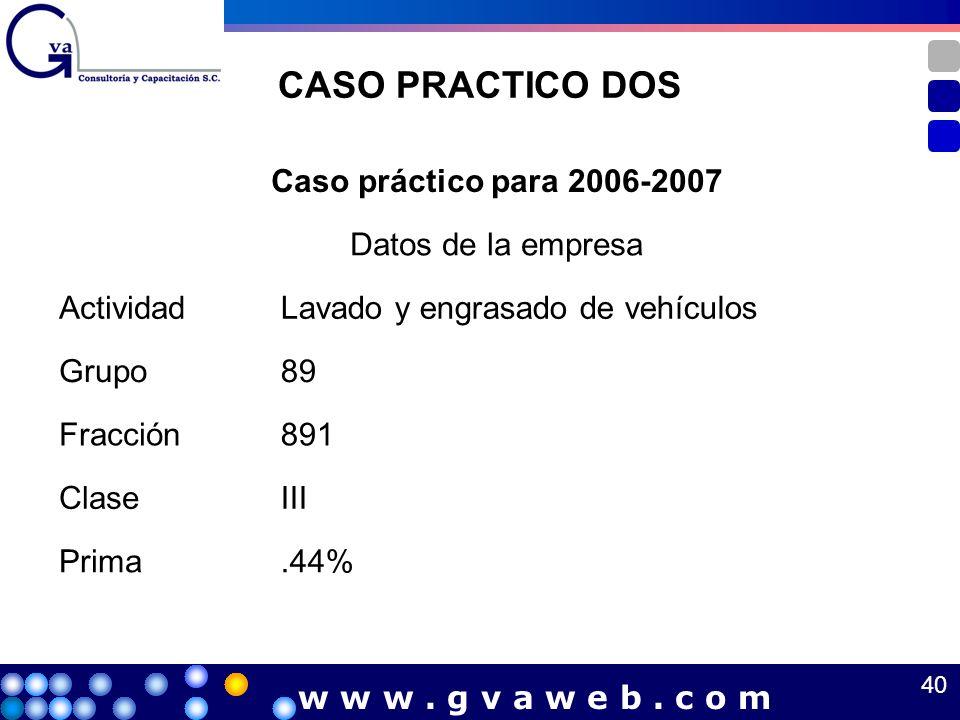 CASO PRACTICO DOS Caso práctico para 2006-2007 Datos de la empresa