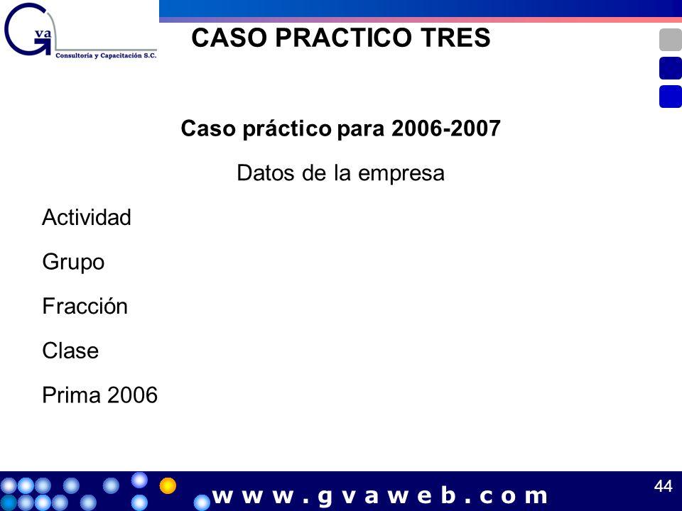 CASO PRACTICO TRES Caso práctico para 2006-2007 Datos de la empresa