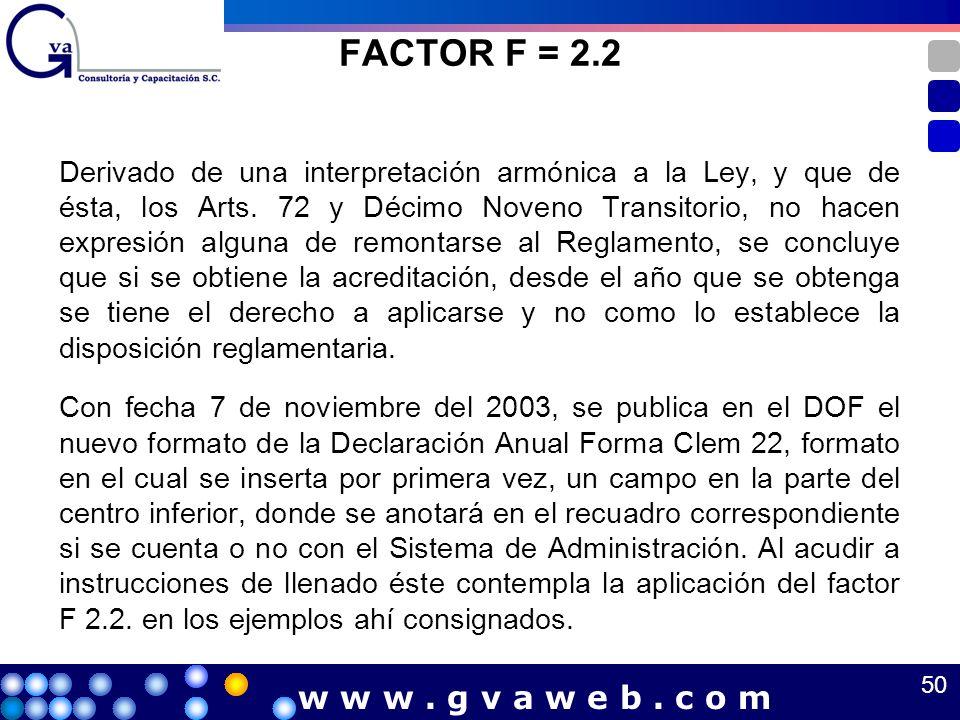 FACTOR F = 2.2 w w w . g v a w e b . c o m