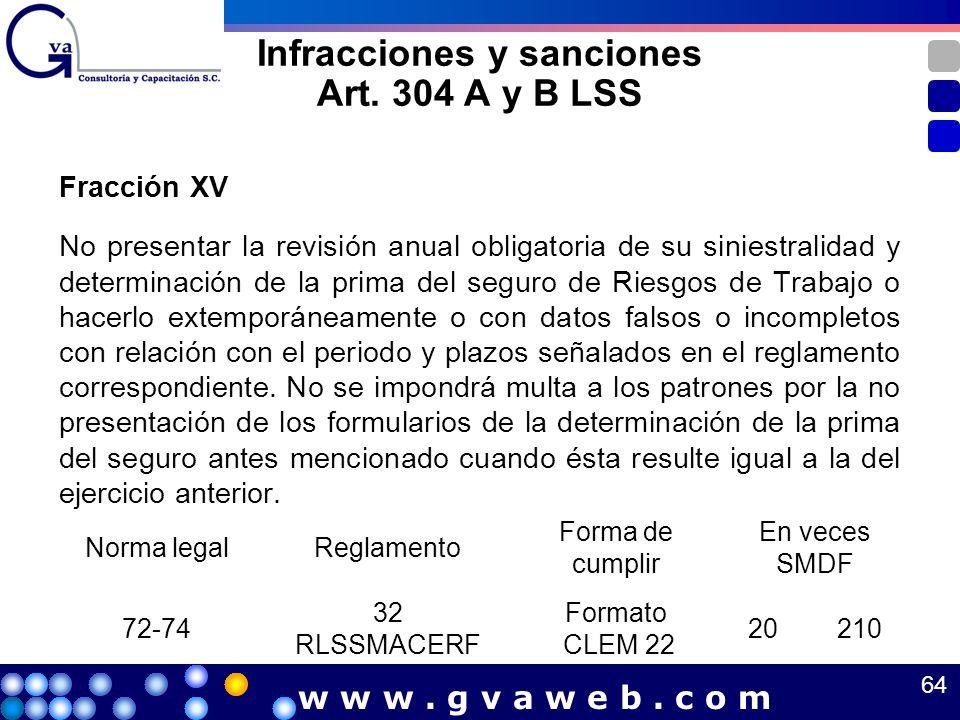 Infracciones y sanciones Art. 304 A y B LSS