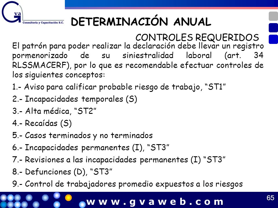 DETERMINACIÓN ANUAL CONTROLES REQUERIDOS w w w . g v a w e b . c o m