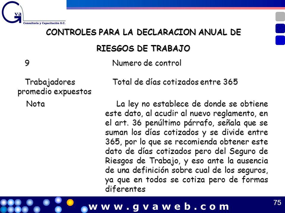 CONTROLES PARA LA DECLARACION ANUAL DE