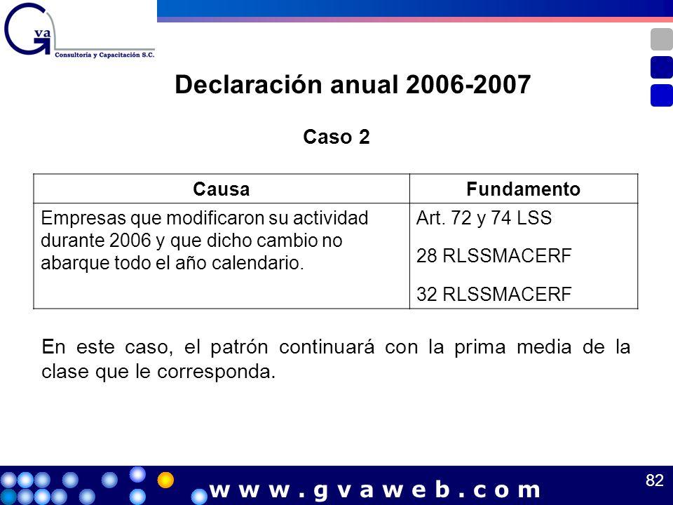 Declaración anual 2006-2007 w w w . g v a w e b . c o m Caso 2