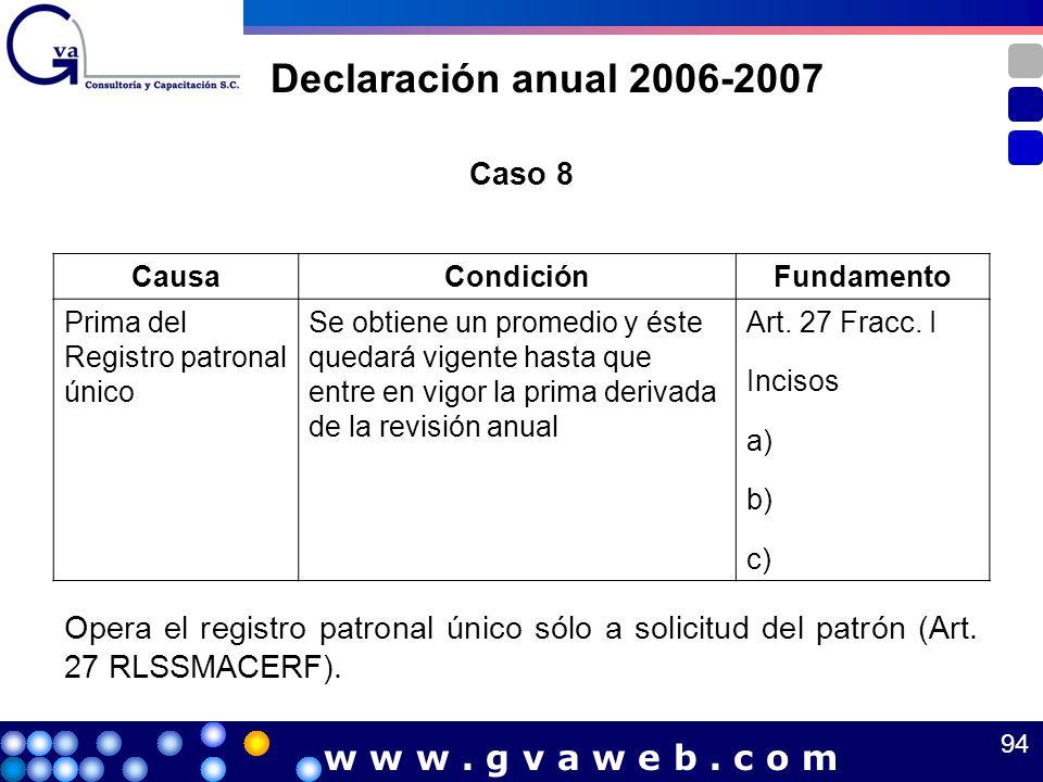 Declaración anual 2006-2007 w w w . g v a w e b . c o m Caso 8