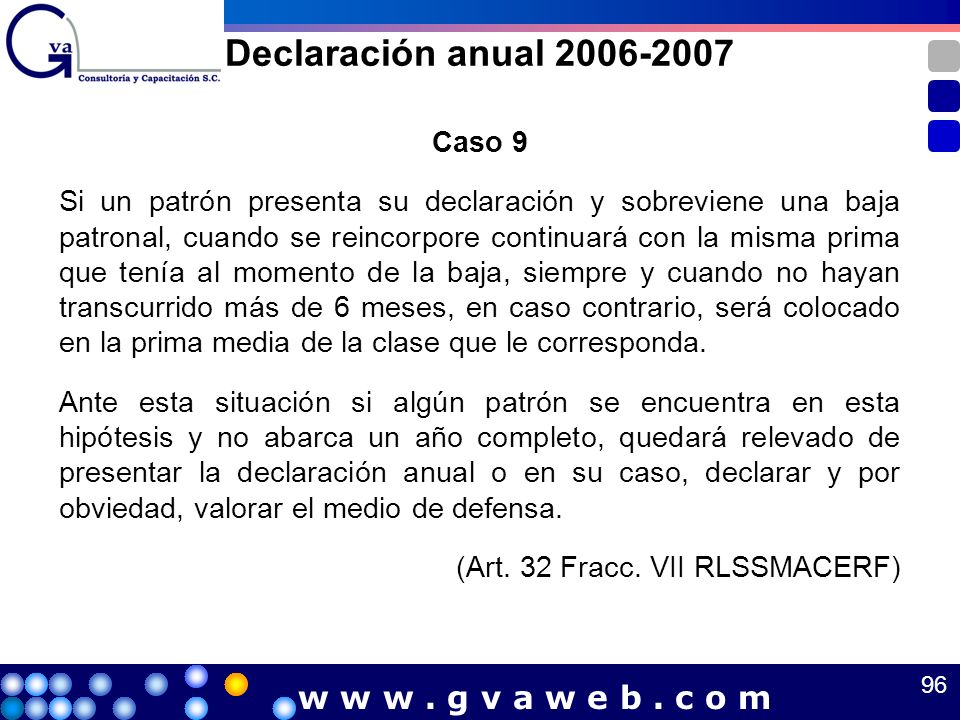 Declaración anual 2006-2007 w w w . g v a w e b . c o m Caso 9
