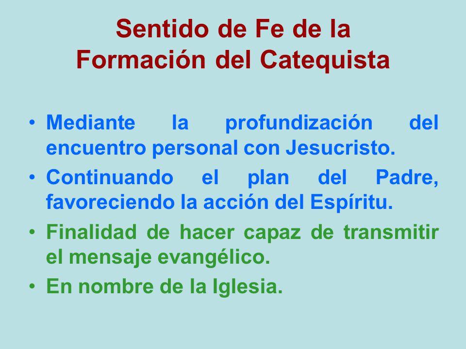 Sentido de Fe de la Formación del Catequista