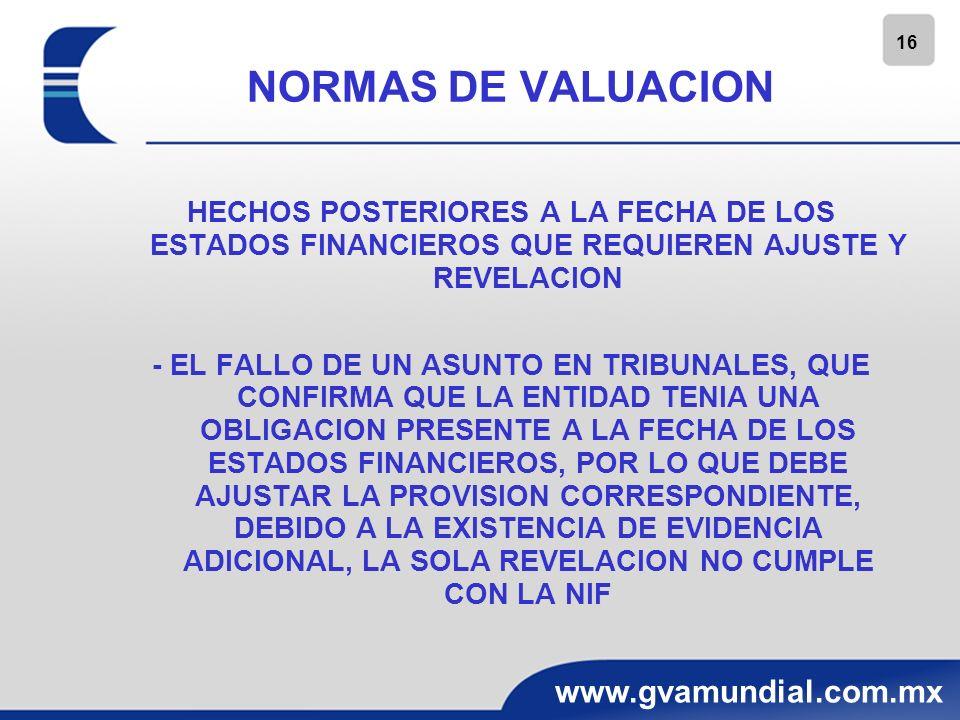 NORMAS DE VALUACIONHECHOS POSTERIORES A LA FECHA DE LOS ESTADOS FINANCIEROS QUE REQUIEREN AJUSTE Y REVELACION.