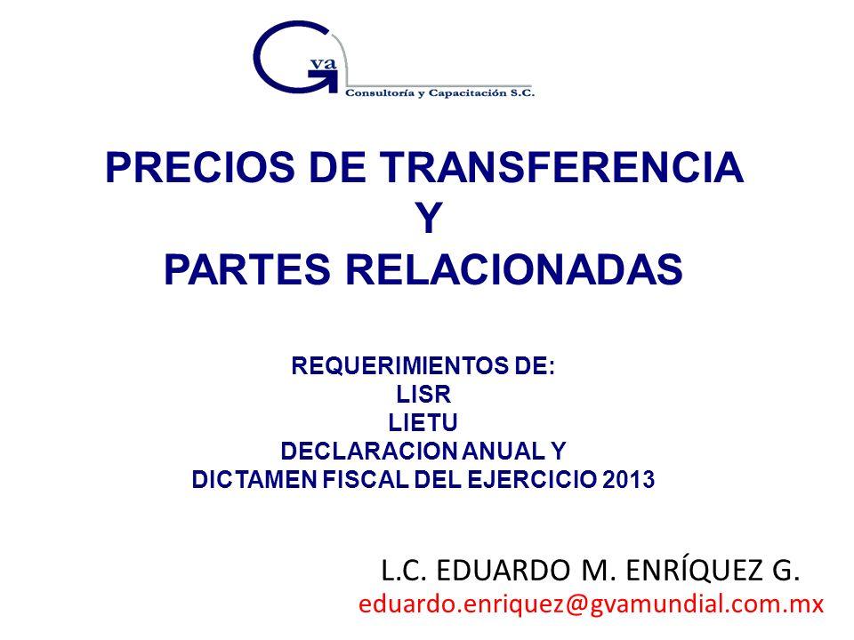 PRECIOS DE TRANSFERENCIA DICTAMEN FISCAL DEL EJERCICIO 2013