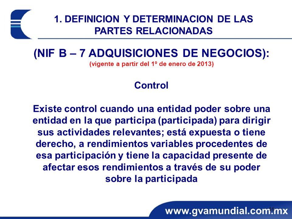 (NIF B – 7 ADQUISICIONES DE NEGOCIOS):