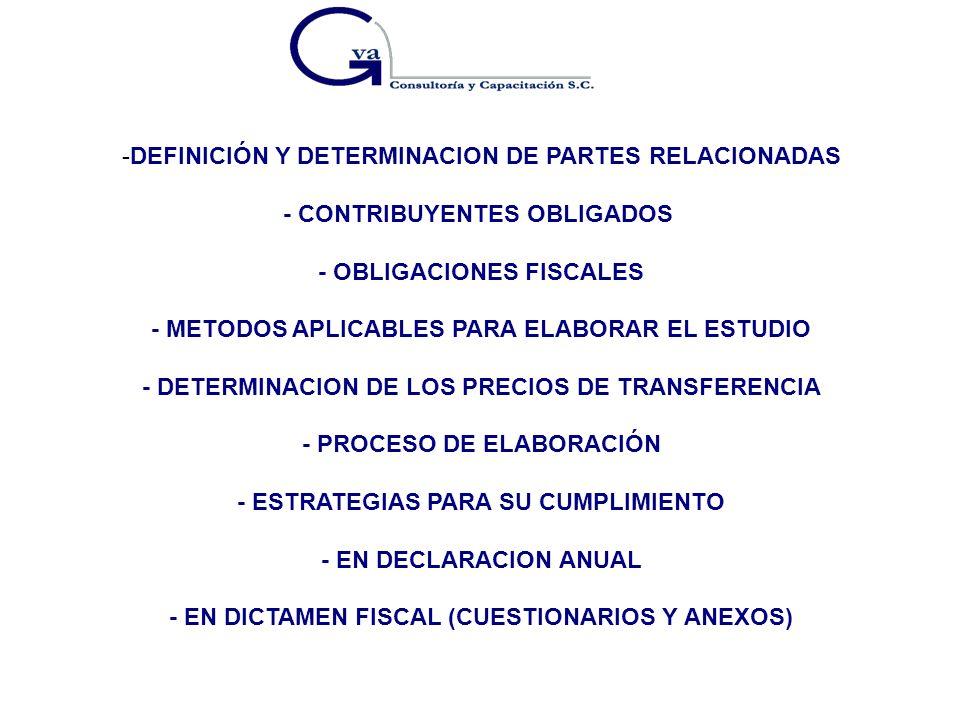DEFINICIÓN Y DETERMINACION DE PARTES RELACIONADAS